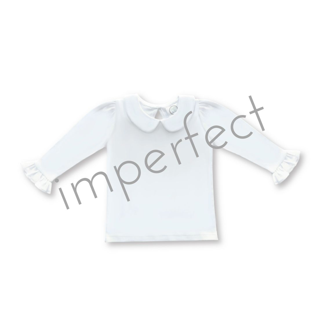 IMPERFECT-Blank Girl's Long Sleeve Peter Pan Collar Tee