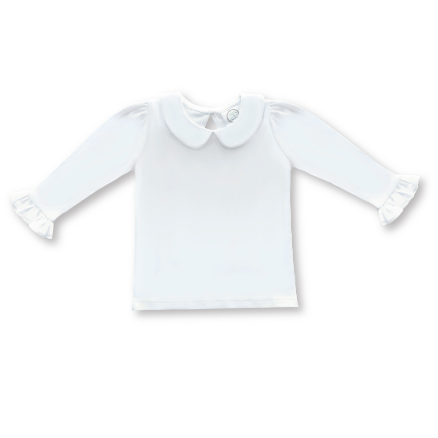 Blank Girl's Long Sleeve Peter Pan Collar Tee