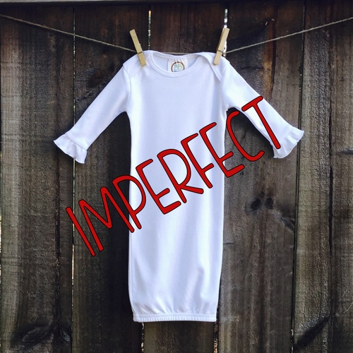 IMPERFECT Blank Girl's Long Sleeve Ruffle Infant Gown with Hidden Zipper