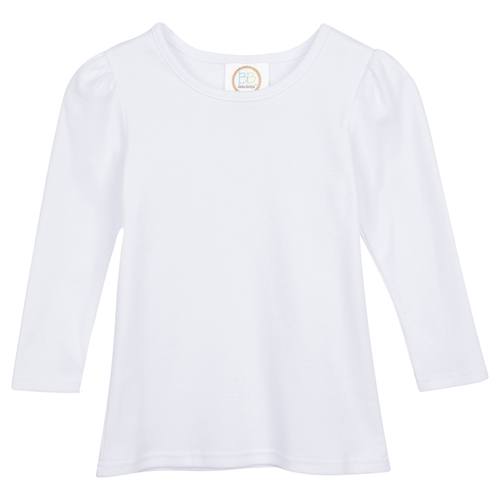 Blank Girl's Long Sleeve Plain Tee (No Ruffle)