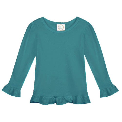 Blank Girl's Long Sleeve Ruffle Tee Shirt