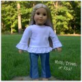 Blank 18 inch Doll Long Sleeved Ruffle Tee Shirt