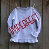 IMPERFECT Blank Girl's Long Sleeve Ruffle Tee Shirt