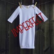 IMPERFECT Blank Unisex Long Sleeve Infant Gown with Hidden Zipper