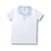 Blank Boy's Short Sleeve Polo Style Collared Shirt w/ Gingham Trim