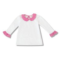 Blank Girl's Long Sleeve Peter Pan Collar Tee with Gingham Trim