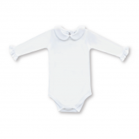 Blank Girl's Long Sleeve Peter Pan Collar Infant Bodysuit