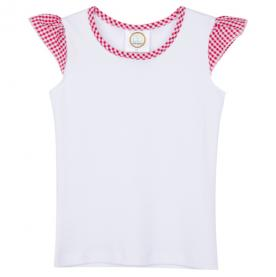 IMPERFECT Blank Girl's Gingham Flutter Sleeve Tee Shirt