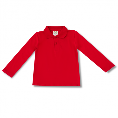 Blank Boy's Long Sleeve Polo Style Collared Shirt