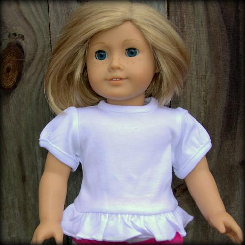 Blank 18 inch Doll Short Sleeve Ruffle Tee Shirt