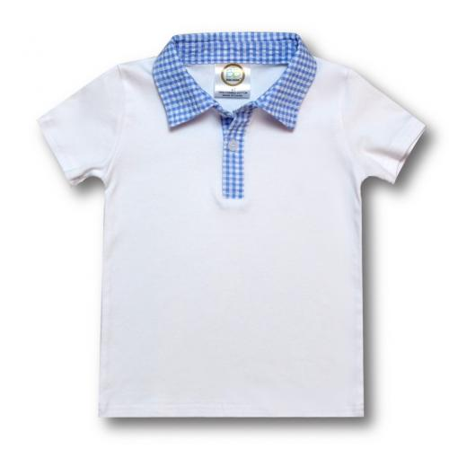 IMPERFECT Blank Boy's Short Sleeve Polo Style Collared Shirt w/ Gingham Trim