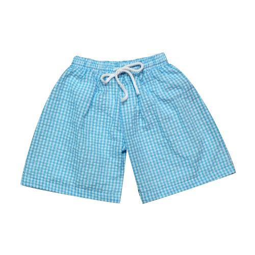 Blank Seersucker Swim Trunks