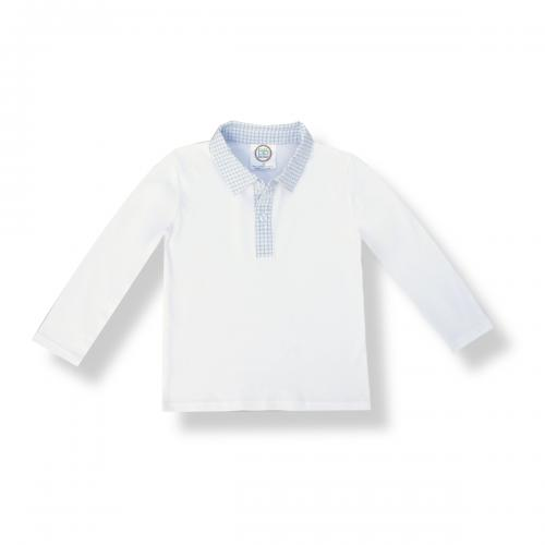 Blank Boy's Long Sleeve Polo Style Collared Shirt w/ Gingham Trim